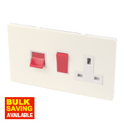Varilight White Choc Cooker Panel 45A Switch + 13A Switch Socket