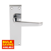 Long Back Victorian Straight Lever on Backplate Latch Pack Polished Chrome