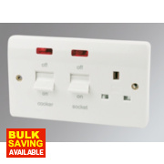 MK 2-Gang 45A Cooker Switch with 13A Switched Plug Socket & Neon White