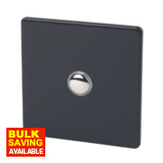 Varilight 1-Gang 2-Way 6A Jet Black Metal Push On/Off Switch
