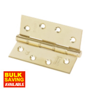 Grade 7 Washered Fire Hinge Electro Brass 102 x 76mm Pk2