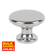 Traditional Classic Disc Knobs Polished Chrome 30mm Pack of 2