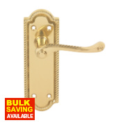 Georgian Door Handle Straight Pair Polished Brass