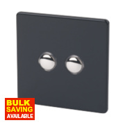 Varilight Jet Black 2-Gang 2-Way 10A Metal Push On/Off Switch