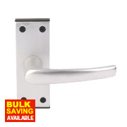 Lever on Backplate Traditional Door Handle Pair Satin Aluminium