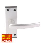 Lever on Backplate Traditional Door Handle Pair Satin Aluminium