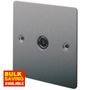 LAP 1-Gang TV Coaxial Socket Brushed Stainless Steel