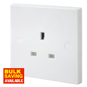 British General 13A 1-Gang Unswitched Plug Socket White