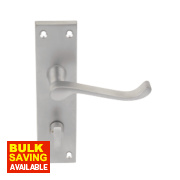 Victorian Scroll Long Backplate WC Door Handle Lever Pack Satin Chrome