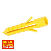 Fischer Plastic Wall Plugs Yellow 3-4mm Pack of 100
