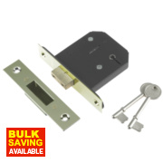 Century 5-Lever Mortice Deadlock Brass Plated 2½