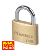 Master Lock Keyed Alike Padlock Brass 50mm