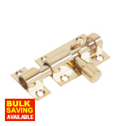 Straight Door Bolt Polished Brass 38mm
