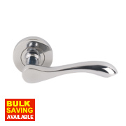Ambassador Lever Latch on Rose Pair Polished Chrome