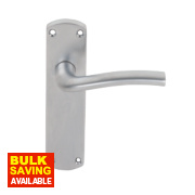 Serozzetta Cuatro Lever on Backplate Bathroom Door Handles Pair Satin Chrome