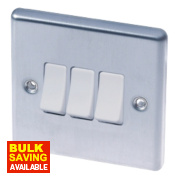 LAP 3-Gang 2-Way 10AX Light Switch Stainless Steel