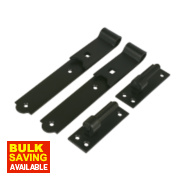 Gate Hinges Straight Hook & Band Pack Powder-Coated Black 40 x 254 x 140mm Pack of 2