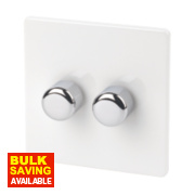 Varilight 2-Gang 1/2-Way Ice White Push Dimmer 2 x 250W