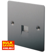 LAP 1-Gang Slave Telephone Socket Brushed Stainless Steel