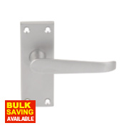 Short Back Victorian Straight Lock Door Handle Pack Satin Chrome