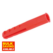 Rawlplug Plastic Plugs Red 3.5-5mm Pack of 100