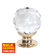 Traditional Door Knob Faceted Glass Polished Brass 30mm Pack of 2