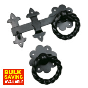 Antique Heavy Ring Gate Latch Black 260mm