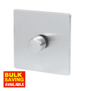 LAP 1-Gang 2-Way Dimmer Switch Mains/Low Voltage 400W Brushed Chrome