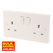 2-Gang 13A SP Switched Socket White