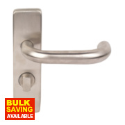 WC Door Handle Pair Satin Stainless Steel