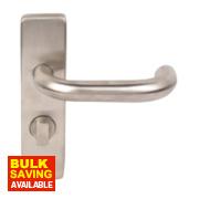 WC Door Handle Pair Satin Stainless Steel