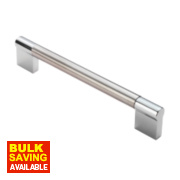 Fingertip Design Cabinet Door Handle Satin Nickel / Polished Chrome 192mm