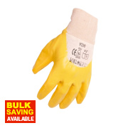 Nitrile Light Knit Wrist Gloves Yellow X Large