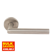 Eclipse Lever on Backplate Euro Lock Door Handle Pair Satin Stainless Steel
