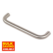 Unbranded Office D Pull Handle Satin Stainless Steel 225mm Pack of 2