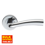 Serozzetta Cinco Lever on Rose Modern Door Handle Pair Polished Chrome