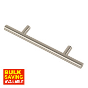 Fingertip Design Steel T-Bar Cabinet Door Handle Brushed Nickel 98mm