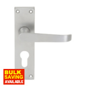Jedo Euro Lock Straight Lever Lock Pair Satin Chrome