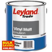 Leyland Trade Vinyl Matt Emulsion Paint Brilliant White 2.5Ltr