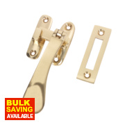 Hook & Mortice Fastener Polished Brass 25mm x 90mm