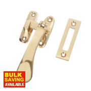 Hook & Mortice Fastener Polished Brass 25mm x 90mm