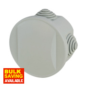 Round 4-Terminal Junction Box with Knockouts Grey 65mm