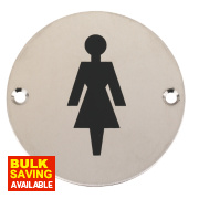 Female WC Sign Satin Stainless Steel 76mm