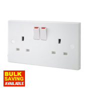 British General 13A 2-Gang Single Pole Switched Plug Socket White