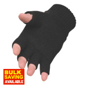 Portwest Non-Safety Fingerless Knit Thinsulate Gloves Black One Size Fits All