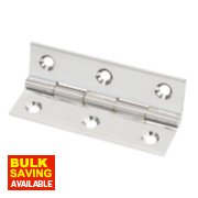 Solid Drawn Brass Hinge Polished Chrome 76 x 40mm Pack of 2