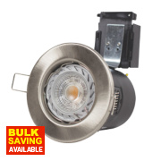 Robus 30, 60 & 90min Fire Rated Fixed LED Downlight IP20 Brushed Chrome W