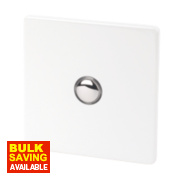 Varilight 1-Gang 2-Way 6A Ice White Metal Push On / Off Switch