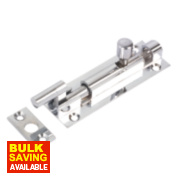 Necked Door Bolt Polished Chrome 76mm