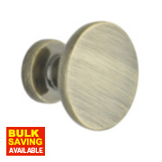Traditional Classic Disc Door Knobs Antique Brass 30mm Pack of 2